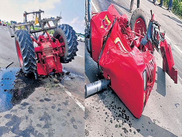 डोणगाव फाट्यावर झालेल्या अपघातात ट्रॅक्टरचे असे दोन  भाग झाले. - Divya Marathi