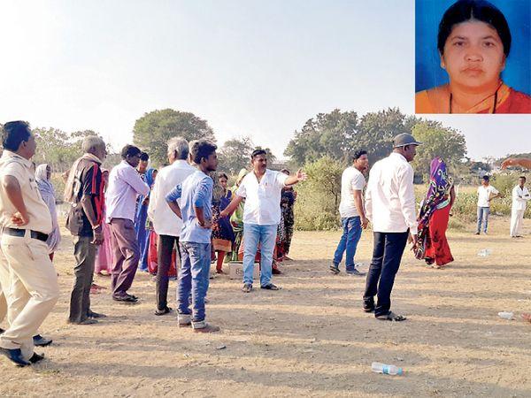 इन्सेटमध्ये पेटवून घेतलेल्या भारती चव्हाण - Divya Marathi