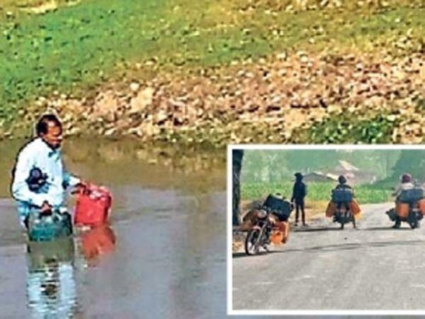 नेपाळवरून गॅलनमध्ये तेल घेऊन नदीच्या रस्त्याने मधुबनीला परतणारा तस्कर. - Divya Marathi