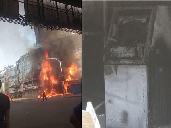મેમનગરના રુદ્ર આર્કેડમાં ઈન્ડિયન બેન્કના એટીએમમાં લાગેલી આગની ઝપેટમાં 7 દુકાન આવી હતી - Divya Bhaskar