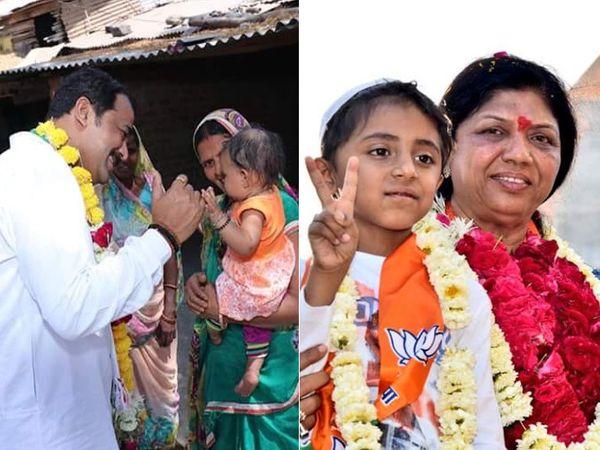પ્રચાર દરમિયાન કોંગ્રેસના ઉમેદવાર અને ભાજપના ઉમેદવાર - Divya Bhaskar