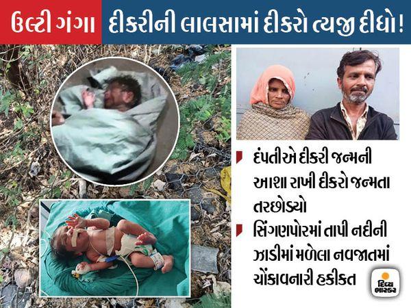 નવજાત પુત્રને ઝાડીમાં તરછોડી દેનારા માતા-પિતાની ધરપકડ કરાઈ - Divya Bhaskar