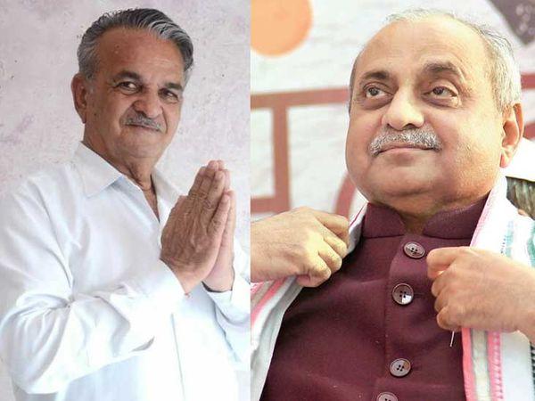 ડાબેથી માંગરોળ બેઠકના કોંગ્રેસના ધારાસભ્ય બાબુ વાજા અને નાયબ મુખ્યમંત્રી નીતિન પટેલ - Divya Bhaskar