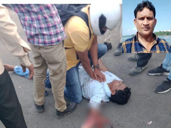 અકસ્માત બાદ યુવકને બચાવવાનો પ્રયાસ કરાયો હતો - Divya Bhaskar