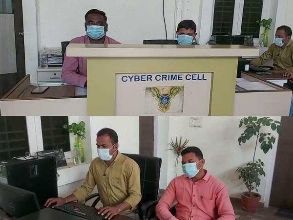 સાયબર ક્રાઇમ વિભાગમાં માસ્ક પહેરીને ફરજ બજાવી રહેલા પોલીસ કર્મચારીઓ - Divya Bhaskar