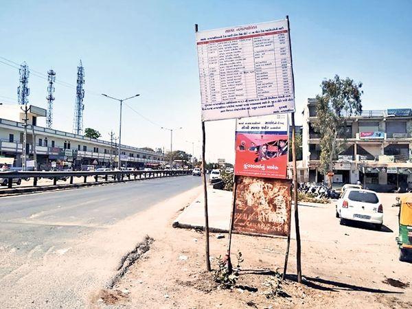 જાહેરમાં હોર્ડિંગ્સ લગાવાયા છે. - Divya Bhaskar