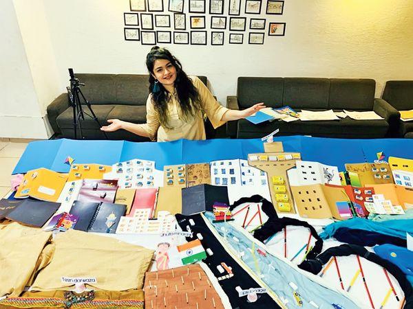 હમરાહીના કશિશ રાઠોર અને સ્કલ્પચર આર્ટિસ્ટ અલય મિસ્ત્રીએ પેન, પેન્સિલ, ફટાકડા, સ્ટેશનરી, રમકડાં  અને કપડાંનો મટિરિયલ તરીકે ઉપયોગ કર્યો અને રંગોળીનો આકાર આપ્યો. - Divya Bhaskar