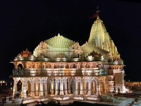 સોમનાથ મહાદેવ મંદિર રંગબેરંગી રોશનીથી ઝગમગી ઉઠ્યું - Divya Bhaskar