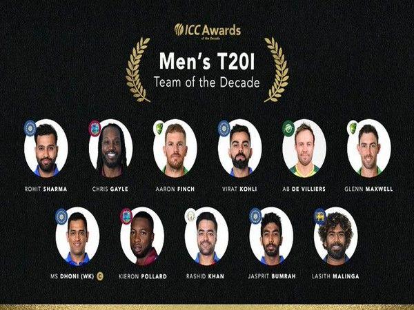 આ ICCની T-20 ટીમ ઓફ ધ ડિકેડ છે. મહેન્દ્ર સિંહ ધોનીને તેના કેપ્ટન જાહેર કરાયા છે.