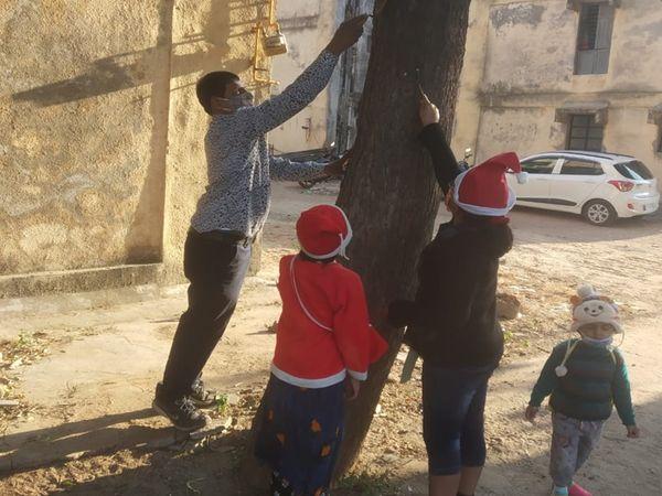 વૃક્ષ ઉપર લાગેલા લોખંડના ખીલાને કાઢવામાં આવ્યા - Divya Bhaskar