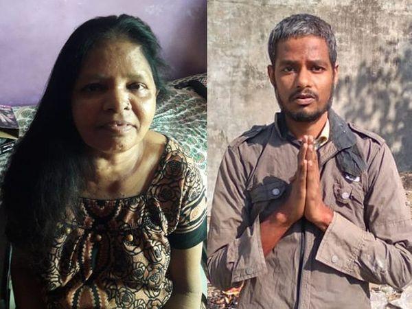 મૃતક માતાની ફાઈલ તસવીર અને હત્યાનો આરોપી પુત્ર. - Divya Bhaskar
