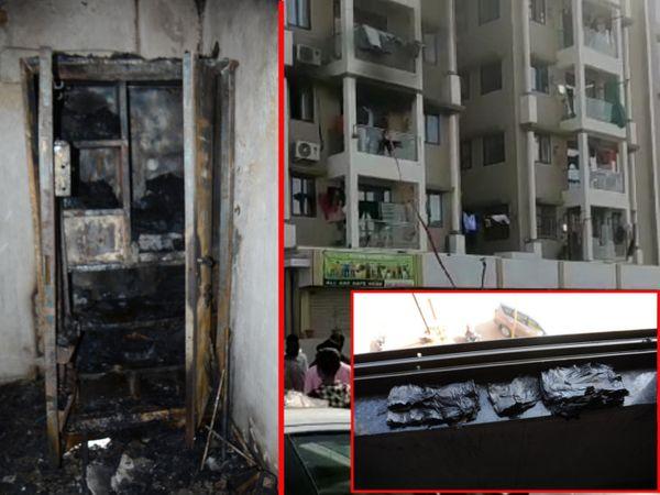 મકાનના બેડરૂમમાંથી લાગેલી આગમાં લોખંડની આખી તિજોરી સળગી ગઇ હતી. જેમાં વિદેશ જવાનું હોઇ લાવેલા 2 લાખ રૂપિયા બળી ગયા હતા. - Divya Bhaskar