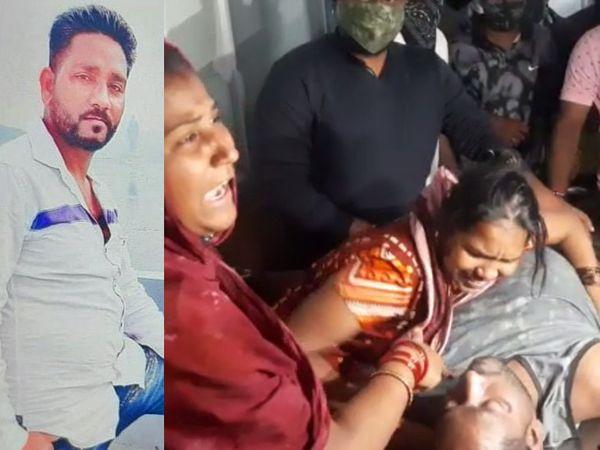 મૃતક યુવાન જિગ્નેશ સોલંકીની ફાઇલ તસવીર અને પતિના મૃતદેહ પાસે આક્રંદ કરી રહેલી પત્ની - Divya Bhaskar