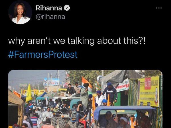 પોપ સ્ટાર રિહાનાએ ખેડૂત પ્રદર્શનના સમર્થનમાં ટ્વીટ કર્યું - Divya Bhaskar