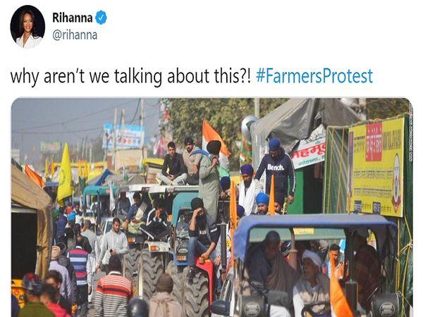 અમેરિકન પોપ સિંગ રિહાનાએ સોશિયલ મીડિયા પર લખ્યું કે, આપણે ભારતમાં ખેડૂતોના પ્રદર્શન અંગે વાત કેમ નથી કરી રહ્યાં?