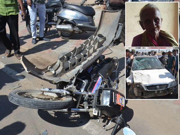 રાધનપુર રોડ પર રોયલ માર્કેટ આગળ બાઇક અને ગાડી વચ્ચે અકસ્માત થયો હતો. - Divya Bhaskar