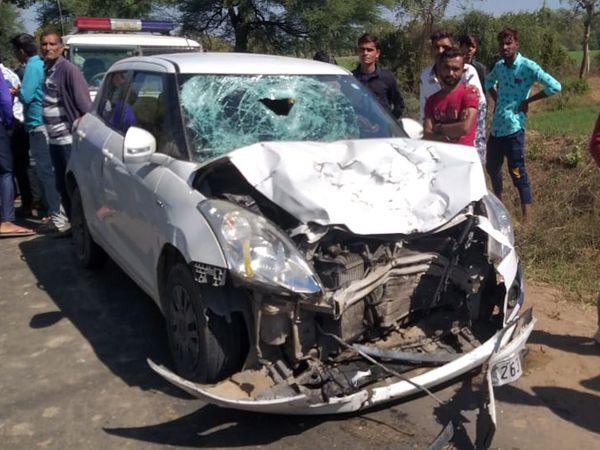 દહેગામ તાલુકાના બહિયલ કનીપુર રોડ પર કારની ટક્કરે એક બાઈક સવારનું મોત નીપજ્યું હતું. - Divya Bhaskar
