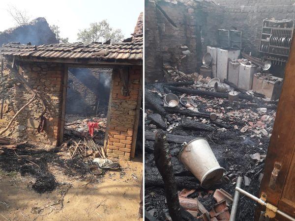 વિરપુર તાલુકાના ખાટા ગામે બે મકાનો આગની લપેટમાં બળીને ખાખ થઇ ગયા. - Divya Bhaskar