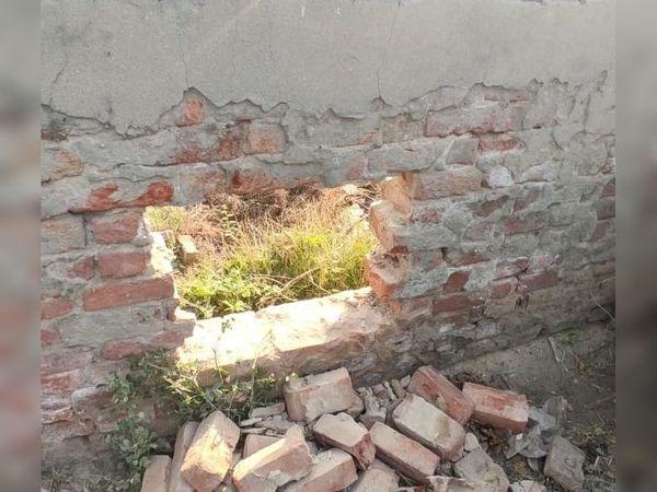 દિવાલમાં બોકારું પાડી તસ્કરો પ્રવેશ્યા હતા. - Divya Bhaskar
