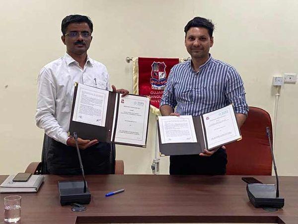 જીસેટના ડૉ. એસ. ડી. પંચાલ અને ટોપ્સ ટેક્નોલોજીસના યાત્રિક ગોસ્વામીએ હસ્તાક્ષર કર્યા - Divya Bhaskar