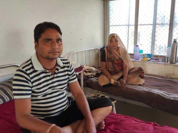 ઈજાગ્રસ્ત મહિલા સારવાર હેઠળ.મહિલાના પતિના પગે ઈજા થઈ. - Divya Bhaskar