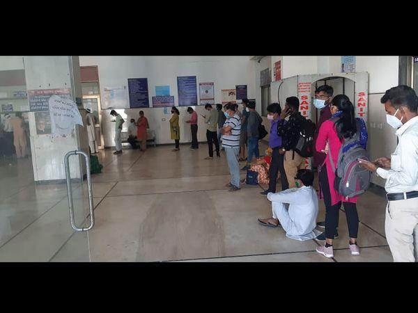 કોરોના ટેસ્ટ કરાવવા હિંમતનગર સિવિલમાં લાઇન લાગી - Divya Bhaskar