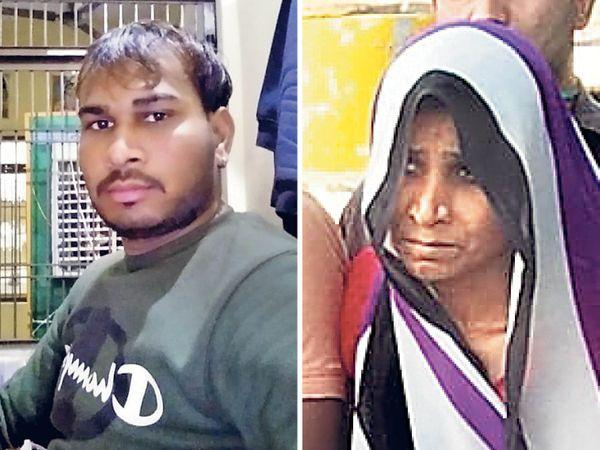 55 વર્ષની માતા ગીતા લુહાર(જમણે)એ જમાઈ વિપિનની સાથે મળીને 22 વર્ષના જિતેન્દ્ર(ડાબે)ની હત્યા કરાવી દીધી. - Divya Bhaskar