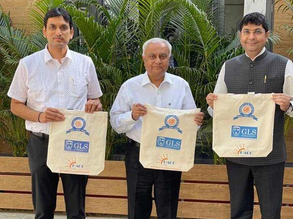 પ્લાસ્ટિકના વપરાશ બંધ કરવા વિદ્યાર્થીઓને GLS યુનિવર્સિટીએ કોટન બેગ  આપી - Divya Bhaskar