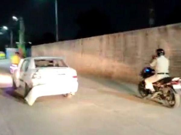પોલીસકર્મીએ કારચાલકનો આશરે 10 કિમી સુધી પીછો કર્યો હતો.