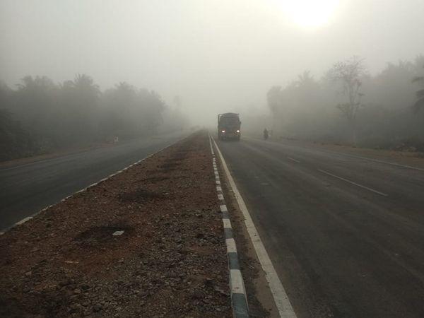 માર્ગો પર ધૂમ્મસ છવાતા દૂર દૂર સુધી વાહનો નજરે પડતા ન હતા. - Divya Bhaskar