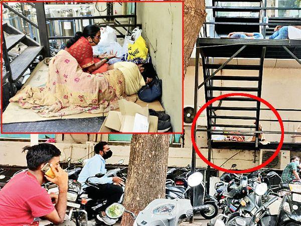 દાદરા પર સારવાર લેતા હોય એ તસવીર અને ઇન્સેટમાં સારવાર લેતો મુંબઈથી આવેલો પરિવાર. - Divya Bhaskar