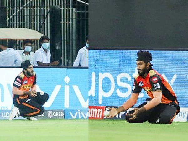 विजय शंकर ने कैरन पोलार्ड का आसान कैच लपका।  यह वही है जिसने हैदराबाद टीम को कड़ी टक्कर दी।  पोलार्ड इस समय 18 पर खेल रहे थे।