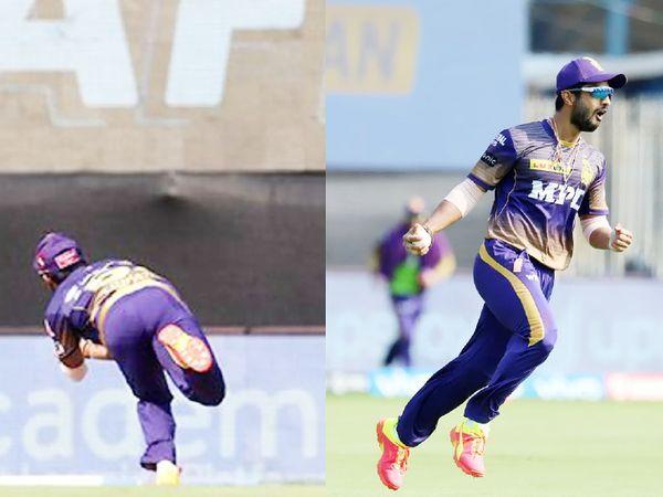 राहुल त्रिपाठी ने वरुण की गेंद पर विराट कोहली को एक शानदार कैच पकड़ा।