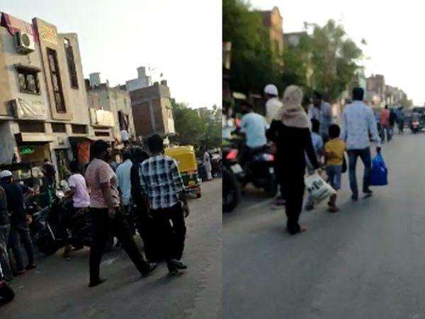 પોલીસ સ્ટેશન માત્ર 100 મીટર દૂર છે, જ્યાં આટલી મોટી સંખ્યામાં લોકો રસ્તા પર ફરી રહ્યા છે.