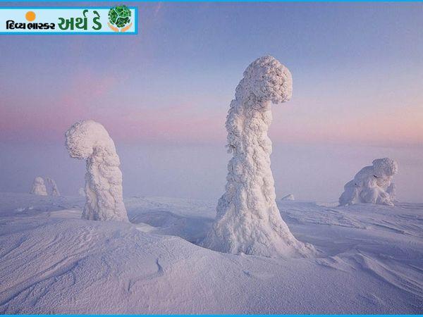 यह किसी जानवर का गला नहीं है बल्कि बर्फ से ढका एक पेड़ है।  यूरोपीय देश फिनलैंड के उत्तरी भाग में स्थित इस क्षेत्र को लैपलैंड कहा जाता है।  यह इतना घिसता है कि बड़े-बड़े पेड़ भी बर्फ की चादर से ढक जाते हैं।