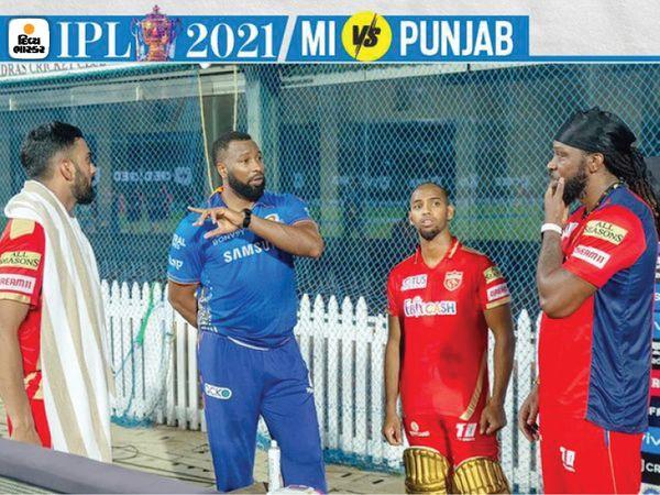 मैच हारने के बाद, मुंबई इंडियंस के पोलार्ड पंजाब किंग्स के क्रिस गेल, कप्तान लोकेश राहुल और निकोलस पूरन से मिलने गए।  गेल, पूरन और पोलार्ड सभी वेस्ट इंडीज के खिलाड़ी हैं।