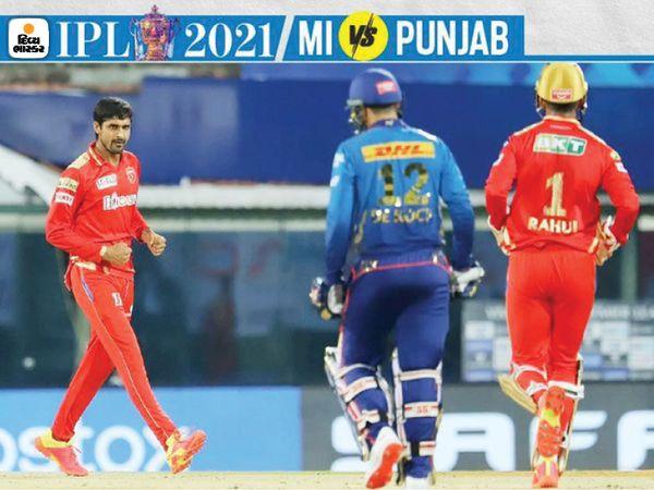 मुंबई ने पहला विकेट 7 रन से गंवाया।  दीपक हुड्डा ने पारी के दूसरे ओवर में क्विंटन डिकॉक को 3 रन पर कैच आउट किया।