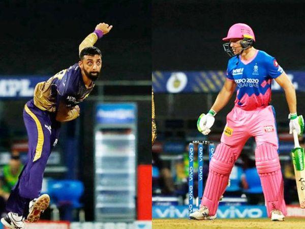 वरुण चक्रवर्ती ने जोस बटलर को आउट कर राजस्थान को पहला झटका दिया।  केकेआर की ओर से वरुण ने 2 विकेट लिए।