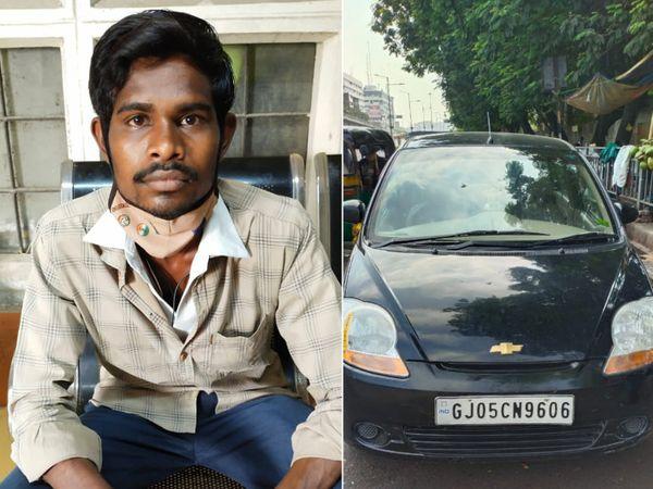 ટીઆરબી જવાને કાર પાર્ક કરવાને લઈને હોબાળો મચાવ્યો હતો. - Divya Bhaskar