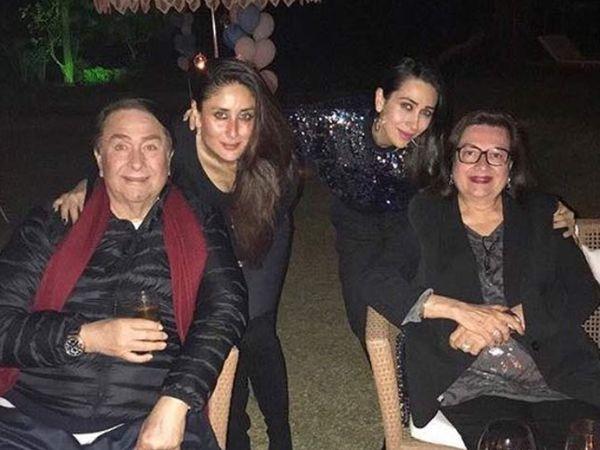 पत्नी और दो बेटियों के साथ रणधीर कपूर