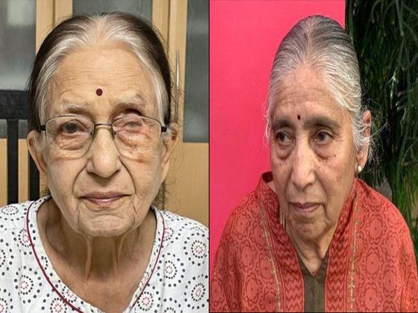 ઘરે જ આઇસોલેશનમાં રહી કોરોનાને હરાવનાર બંને વૃદ્ધાની તસવીર. - Divya Bhaskar