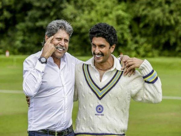फिल्म की तैयारी के दौरान भारतीय क्रिकेट टीम के पूर्व कप्तान कपिल देव और फिल्म में उनकी भूमिका निभाने वाले रणवीर सिंह