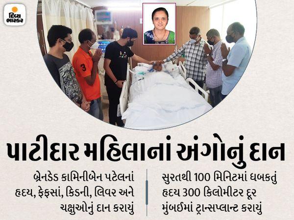 પરિવારે અંગદાનની સહમતી આપતાં હ્રદય, ફેફસાં સહિતના અંગોનું દાન કરવામાં આવ્યું છે. - Divya Bhaskar