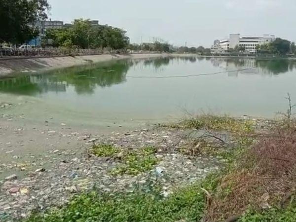 પાલિકા તંત્ર દ્વારા ડ્રેનેજનાં દૂષિત પાણી સમા તળાવમાં છોડાયાં હતાં. - Divya Bhaskar