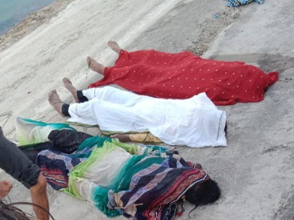 બે કલાકની શોધખોળ બાદ ત્રણેયની લાશ બહાર કઢાઈ હતી. - Divya Bhaskar