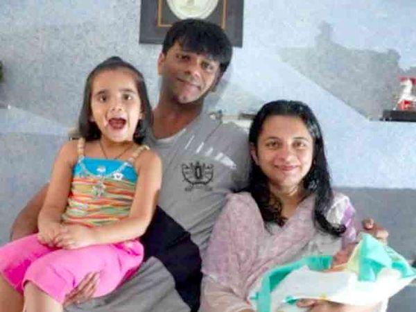પુત્રી વ્રિસ્ટી, પુત્ર ઝસીન અને પત્ની મીત્સુ સાથે તન્મય વેકરિયા