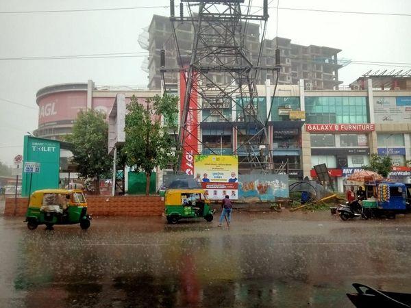 Picture of rain at ISKCON Cross Road
