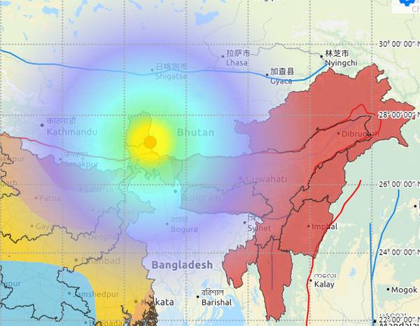 सिक्किम-नेपाल बॉर्डर पर भूकंप का केंद्र दिखाते हुए मैप।