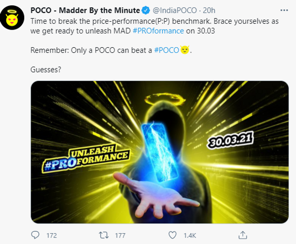 पोको ने सोशल मीडिया पर कंफर्म की लॉन्च डेट।