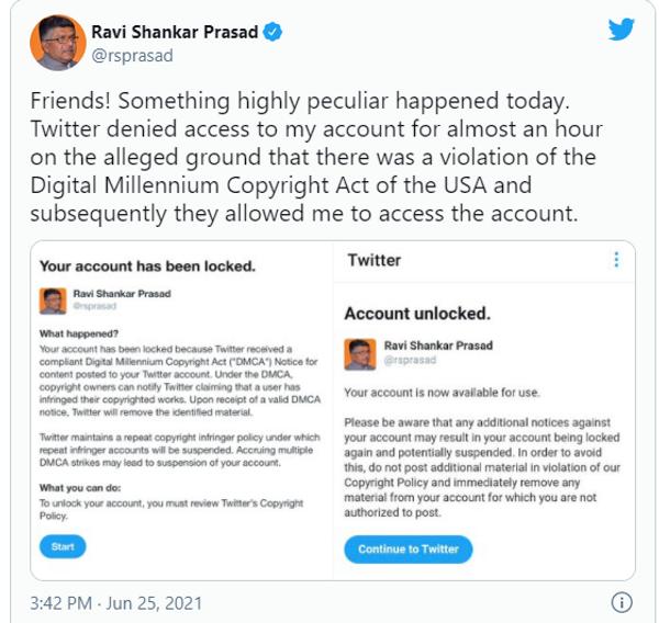 IT मंत्री ने अकाउंट ब्लॉक होने की जानकारी सोशल मीडिया पर दी थी।